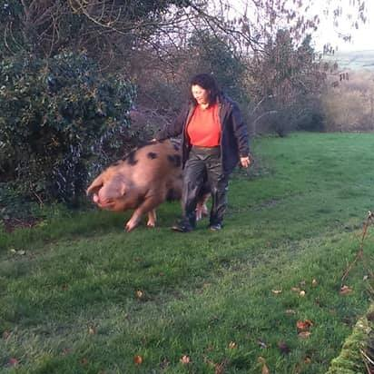 Kim Brook with her OSB Boar